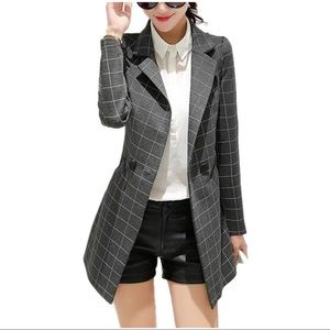 Jackets & Blazers - Check Plaid Long Sleeve Casual Long Jacket Blazer